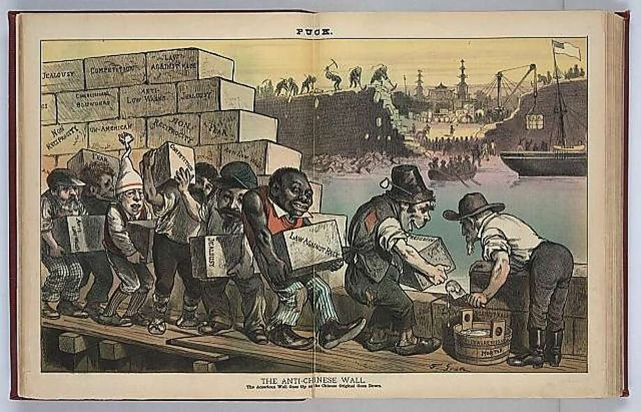 "Political cartoon from the Puck in 1882. Caption reads: ""The Anti-Chinese Wall: The American Wall Goes Up as the Chinese Original Goes Down."" Photo: Courtesy Library Of Congress"