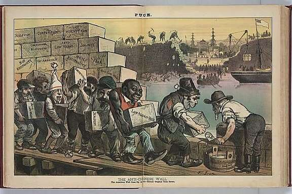 "Political cartoon from ""The Puck"" in 1882.  Caption reads: ""The Anti-Chinese Wall The American Wall Goes Up as the Chinese Original Goes Down.""  Courtesy of the Library of Congress."