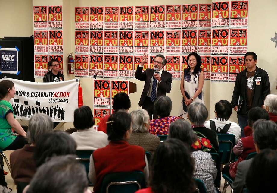San Francisco supervisors Aaron Peskin and Jane Kim join San Francisco tenants, leaders of tenants, labor, non-profit housing and faith organizations as they hold a No on propositions P and U rally at Glide Memorial Church in San Francisco, Calif., on Wed. Sept. 7, 2016. Photo: Michael Macor, The Chronicle