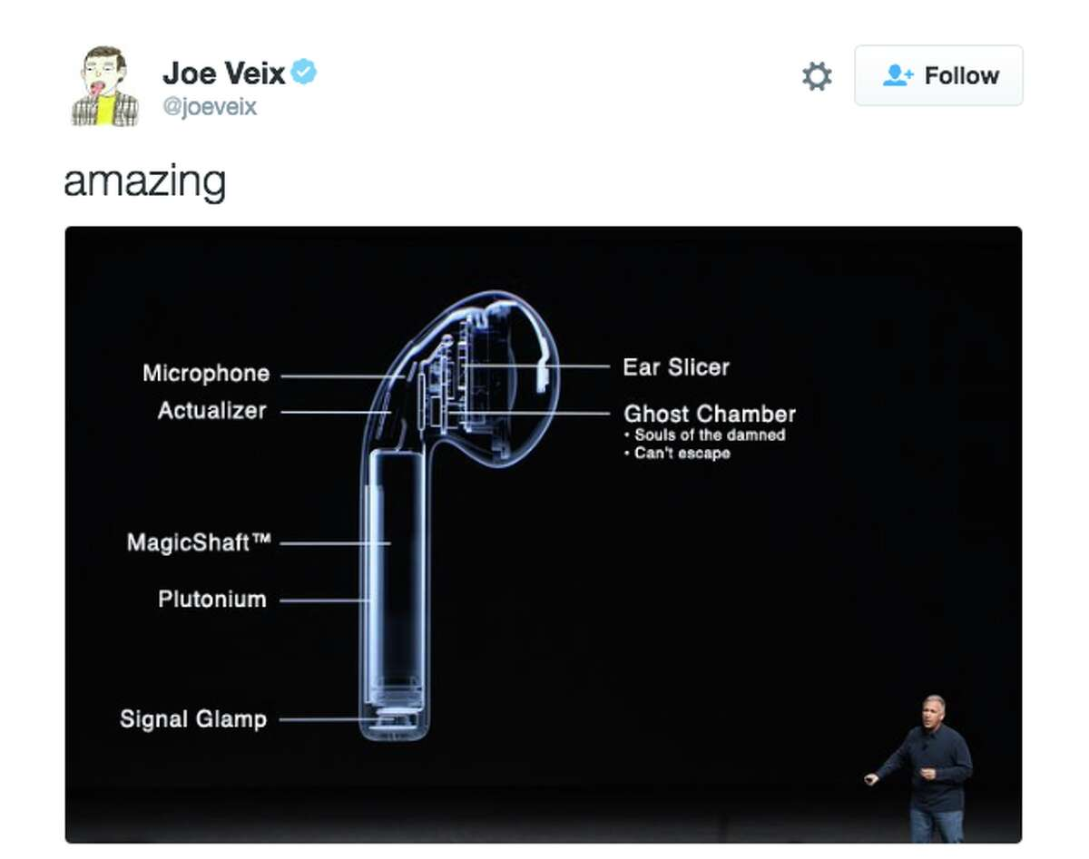 Following the launch of AirPods in December 2016, Twitter users were quick to respond with their distaste for the earphones. Click through this gallery for a selection of some of the funniest memes generated by Twitter users. @JoeVeix/Twitter