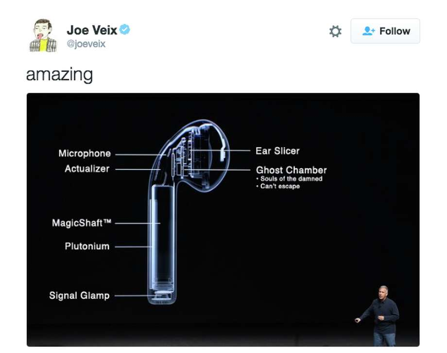 Following the launch of AirPods in December 2016, Twitter users were quick to respond with their distaste for the earphones.Click through this gallery for a selection of some of the funniest memes generated by Twitter users.@JoeVeix/Twitter