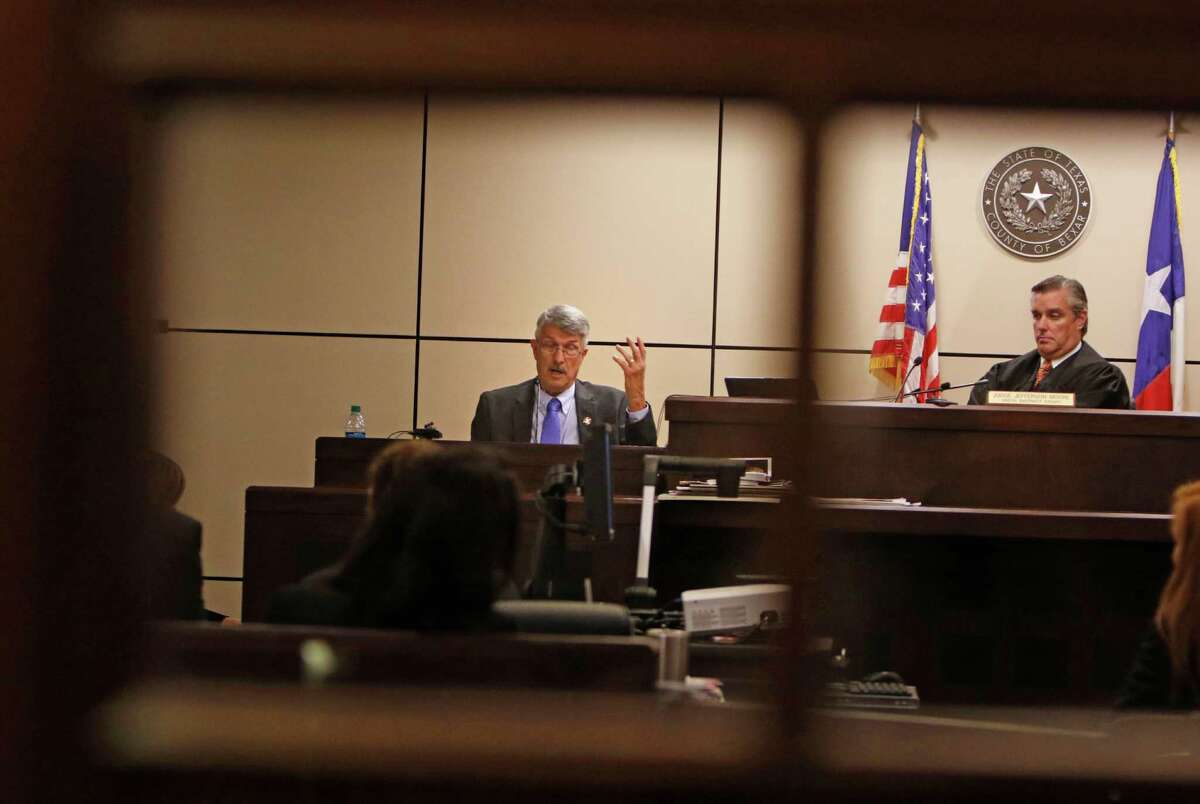 Defense witness Ron Brandin testifies while Judge Jefferson Moore listens. the defense is calling witnesses in the fifth day of the Frances Hall murder trial. The witness we want is a man named Edward Botello, who testified in the civil case, stating that he was driving behind the trio when he saw Bill Hall Jr. hit his wife's Escalade, lose control and fall into a grassy patch off South Loop 1604 on Wednesday, 0/7/2016