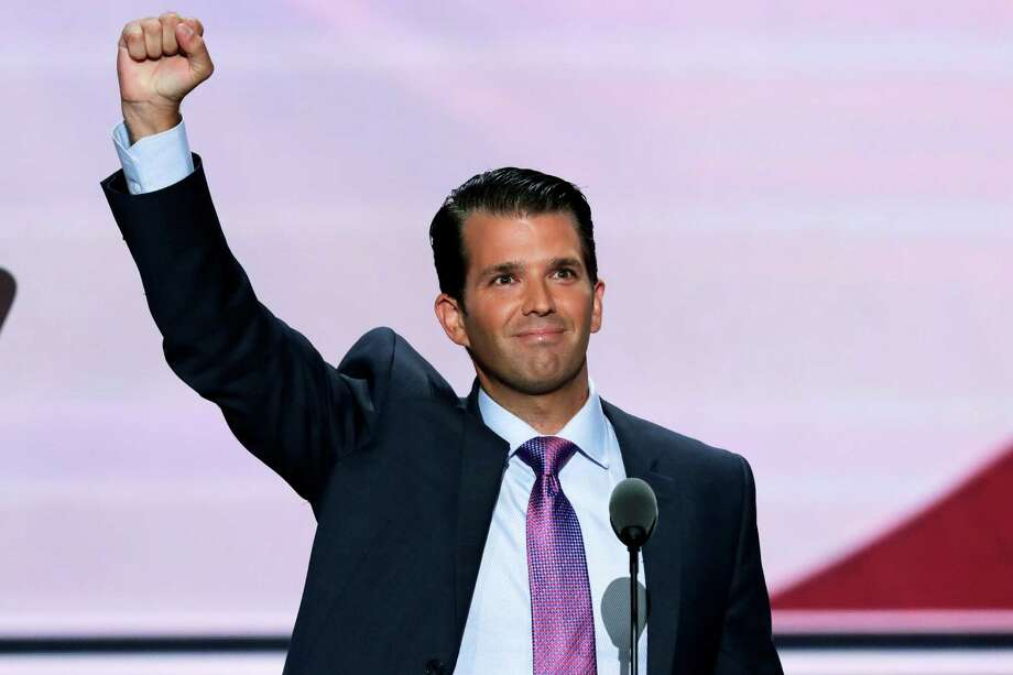 FILE - In this Tuesday, July 19, 2016 file photo, Donald Trump, Jr., son of Republican Presidential Candidate Donald Trump, lifts his fist after speaking during the second day of the Republican National Convention in Cleveland. The son of Republican presidential nominee Donald Trump has been floated as a possible mayoral candidate after his speech in support of Trump at the Republican National Convention last week in Cleveland. (AP Photo/J. Scott Applewhite, File) Photo: J. Scott Applewhite, STF / Associated Press / AP