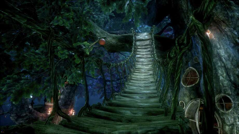 """This undated image provided by VR studios Wevr shows a screen shot of the VR studios Wevr and Reality One collaboration """"Gnomes & Goblins,"""" an interactive series based on an original Jon Favreau creation. The room-scale virtual reality experience, which will initially be available for the HTC Vive system, casts users as a human-sized avatar that can move around in an enchanted forest and interact with an adorable tiny goblin. (VR studios Wevr via AP) Photo: HONS / VR studios Wevr"""