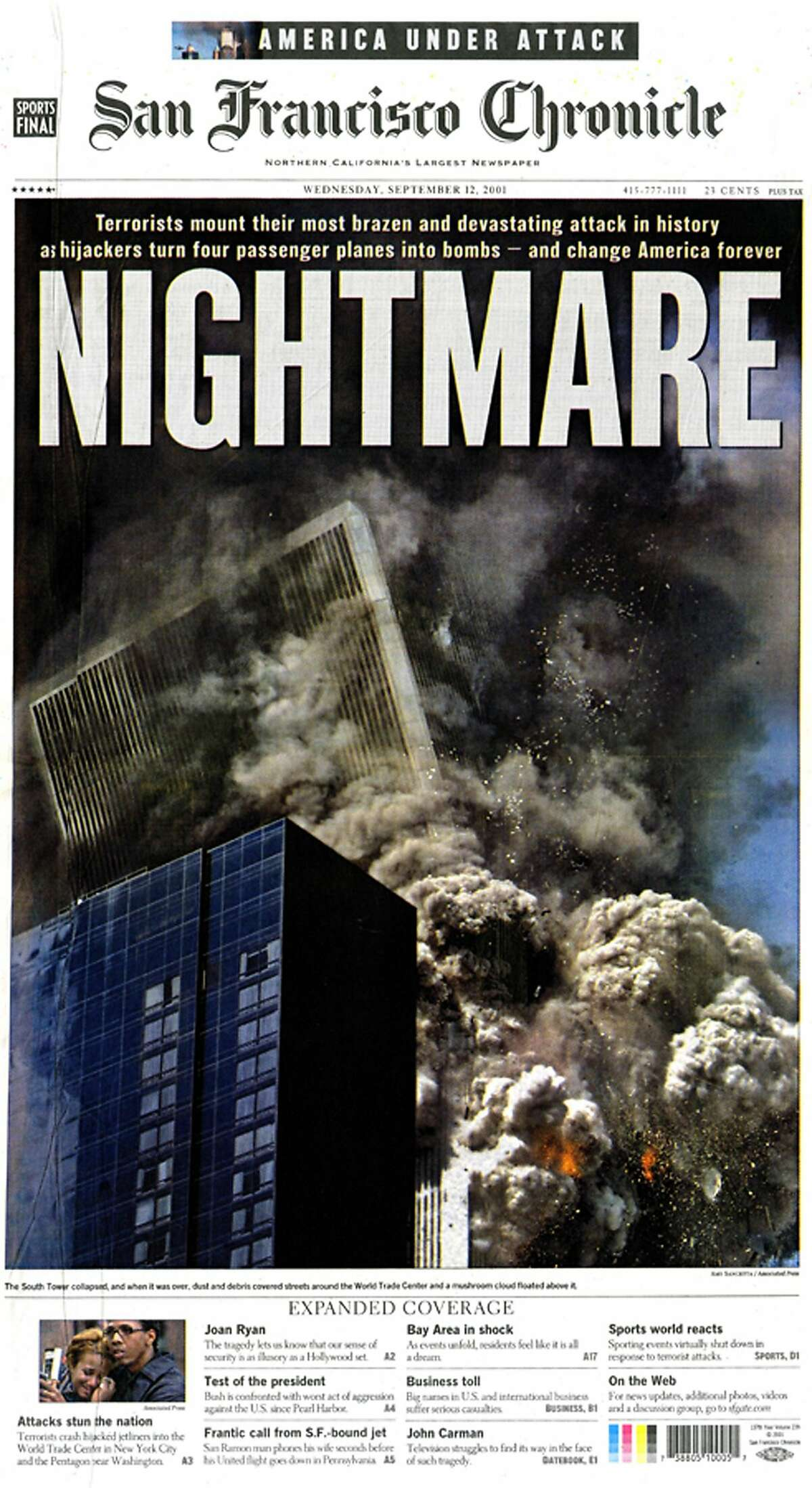 The Chronicle's front page from Sept. 12, 2001, covers the 9/11 attacks.