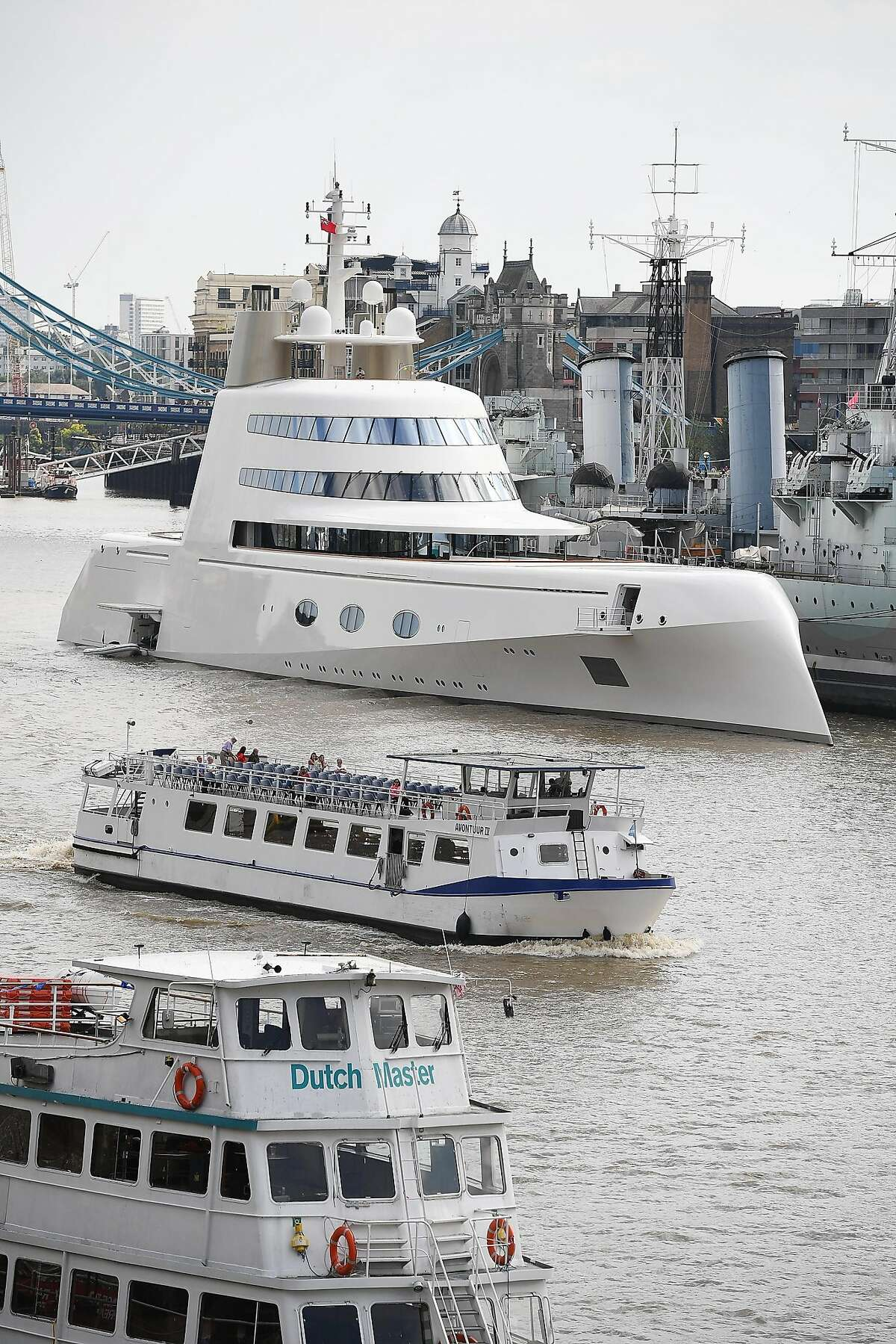 Russian billionaire Andrey Melnichenko's 225m Philippe Starck-designed boat is seen moored next to HMS Belfast on the River Thames on September 7, 2016 in London, England. The