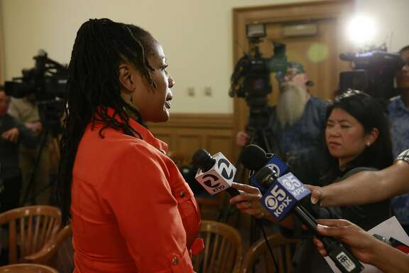 Oakland city councilwoman Lynette Gibson McElhaney comments after Oakland Mayor Libby Schaaf held a press conference to discuss the disciplinary actions against the Oakland police officers involved in the Celeste Guap sex scandal, at city hall  in Oakland, Calif., on Wed. Sept. 7, 2016.