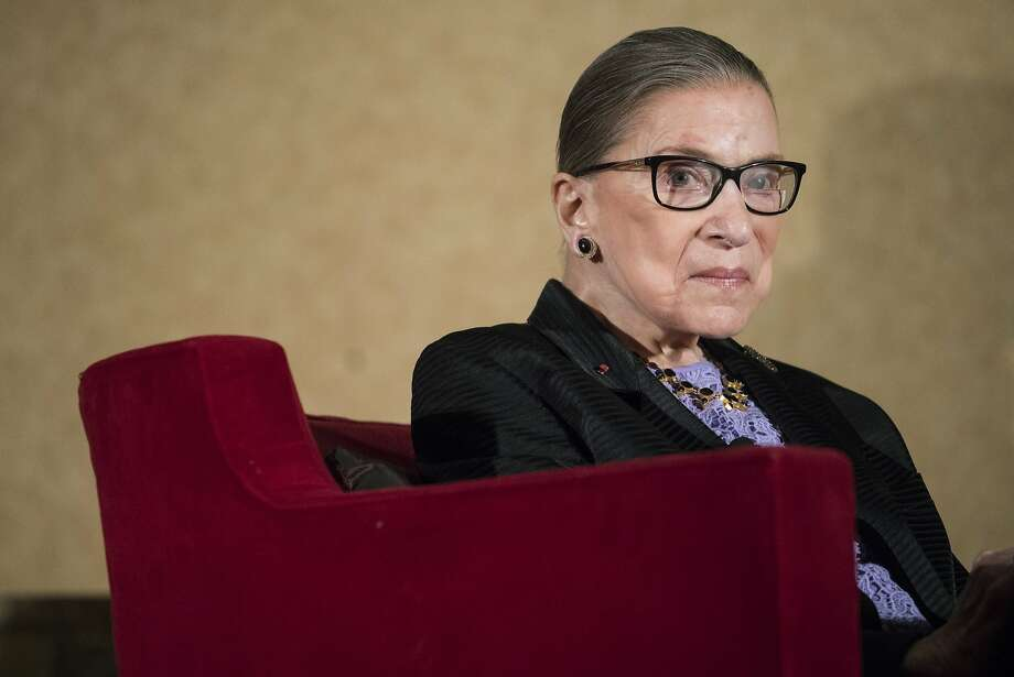 """Supreme Court Justice Ruth Bader Ginsburg has compared Colin Kapernick's protest of the national anthem to flag burning and called it """"dumb and disrespectful.""""File photo - In this Aug. 19, 2016 file photo, Supreme Court Justice Ruth Bader Ginsburg speaks in Pojoaque, N.M. Photo: Craig Fritz, Associated Press"""