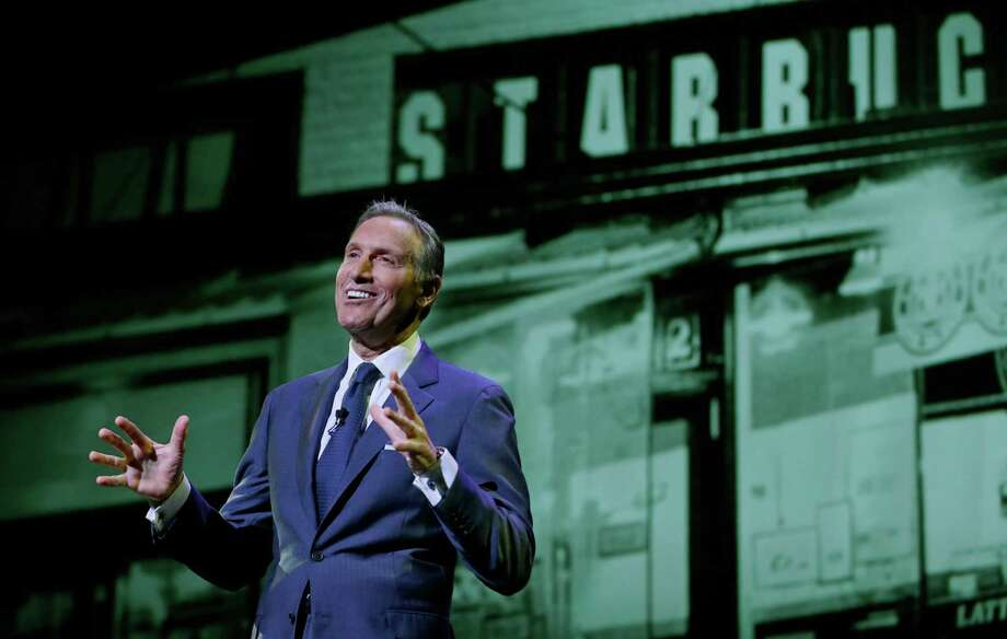 """FILE - In this Wednesday, March 23, 2016, file photo, Starbucks CEO Howard Schultz speaks at the coffee company's annual shareholders meeting in Seattle. Starbucks is venturing into the world of """"content creation"""" with stories about inspiring Americans it says will help balance the """"cynicism"""" fueling media coverage of the presidential election. The coffee chain, which is known for chiming in on social issues, says it's positioned to give its Upstanders series a big stage through its popular mobile app.  (AP Photo/Ted S. Warren, File) Photo: Ted S. Warren, STF / Copyright 2016 The Associated Press. All rights reserved."""