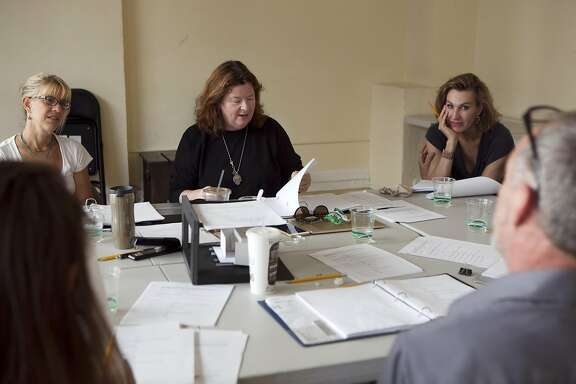 "Playwright Theresa Rebeck reviews the script  during a table read of her new play ""Seared"" in San Francisco, California on Wednesday, September 7,  2016."