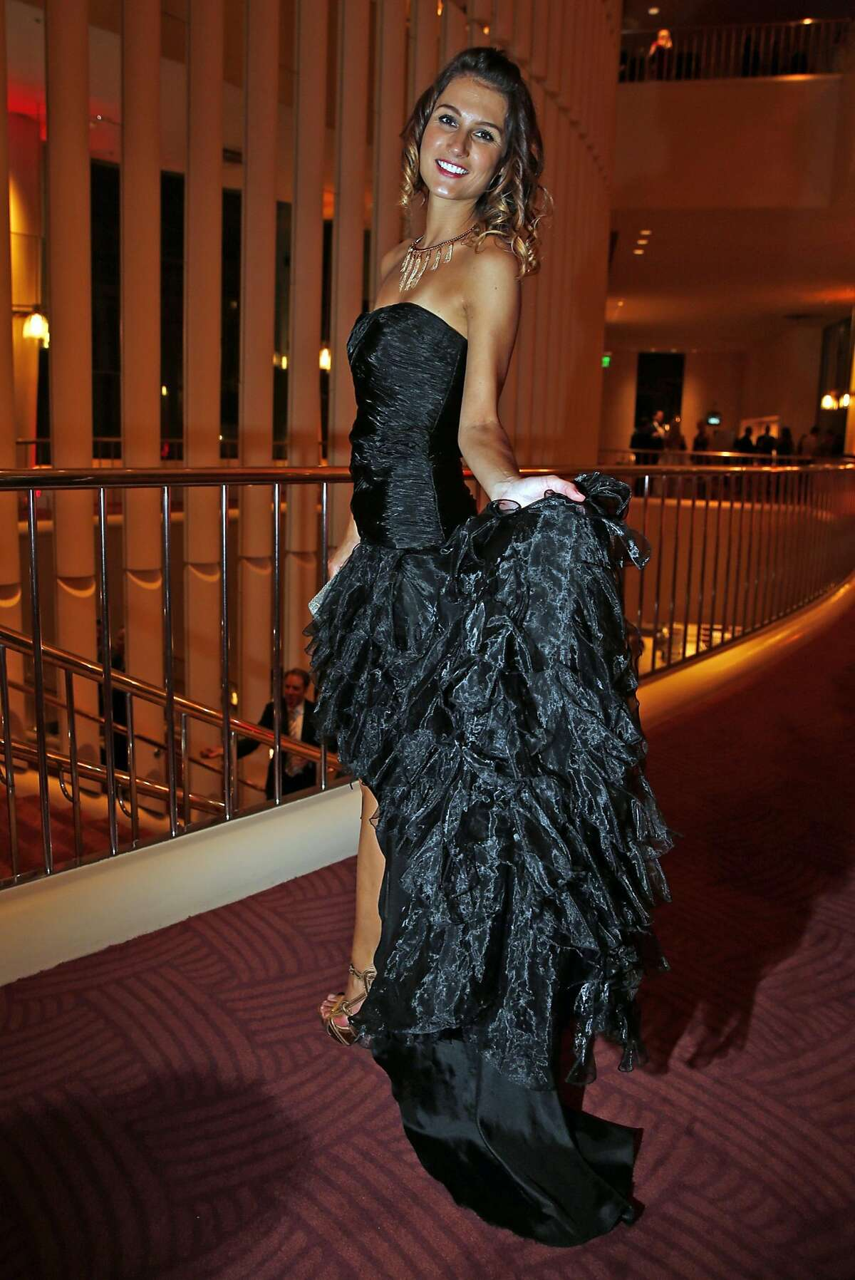 Virginie Eskenazi in a Giovanni dress with ruffles during San Francisco Symphony Opening Night Gala in San Francisco, Calif., on Wednesday, September 7, 2016.
