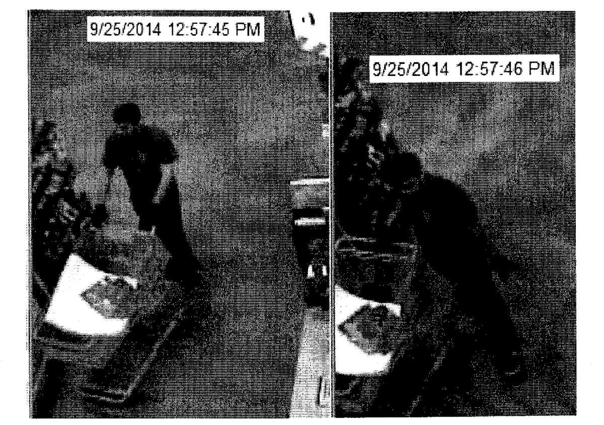 Investigators contend the these surveillance photos show Maziar Rezakhani buying tile he would later pack in iPhone boxes and ship before claiming the phones were stolen.