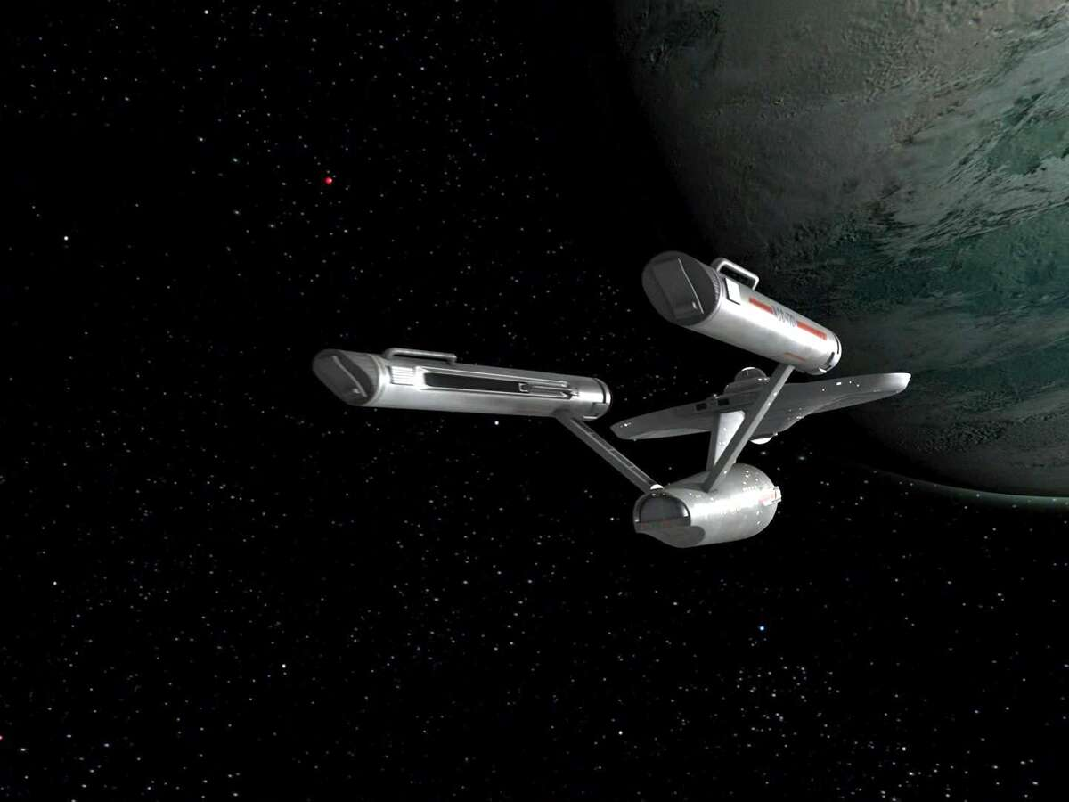 """The USS Enterprise in the STAR TREK: The Original Series episode, """"The Cage."""" This is the pilot episode completed early 1965, but not broadcast until October 4, 1988. Image is a screen grab. (Photo by CBS via Getty Images)"""