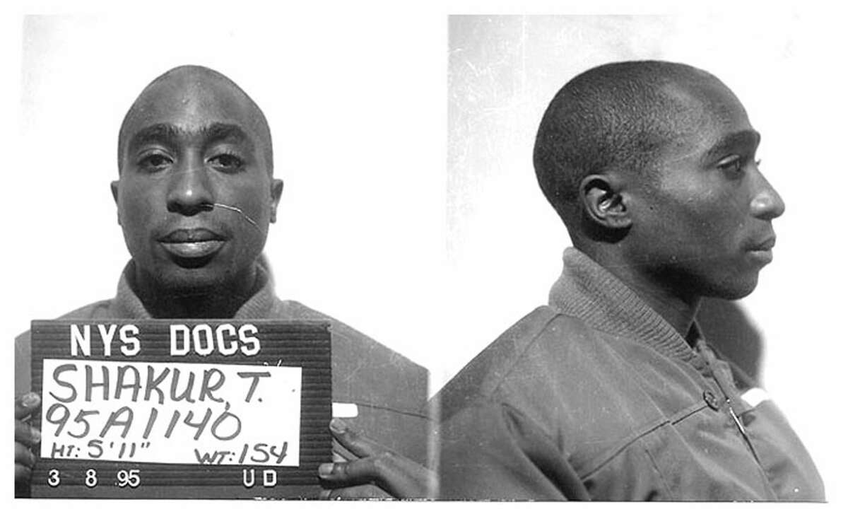 NEW YORK - MARCH 8: Rapper Tupac Shakur poses for a mug shot for the New York State Department of Corrections after his conviction for the sexual abuse of a female fan on March 8, 1995 in New York, New York. (Photo by Michael Ochs Archives/Getty Images)