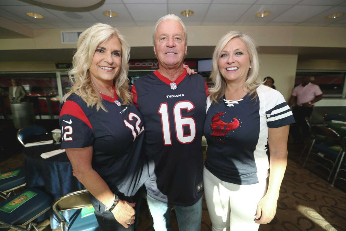 Auction co-chairmen Vicki and Bill Lehner, left, and Karen Degeurin pose for a photo at the 4th Annual Fantasy Football Draft Night at NRG Stadium Wednesday, Sept. 7, 2016, in Houston. Funds raised at this event will benefit Boys & Girls Harbor.