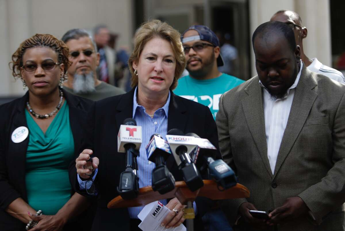 Attorney Kim Ogg calls for an independent investigation in the destruction of evidence reported by District Attorney's office during a press conference in downtown Houston, September 8, 2016.