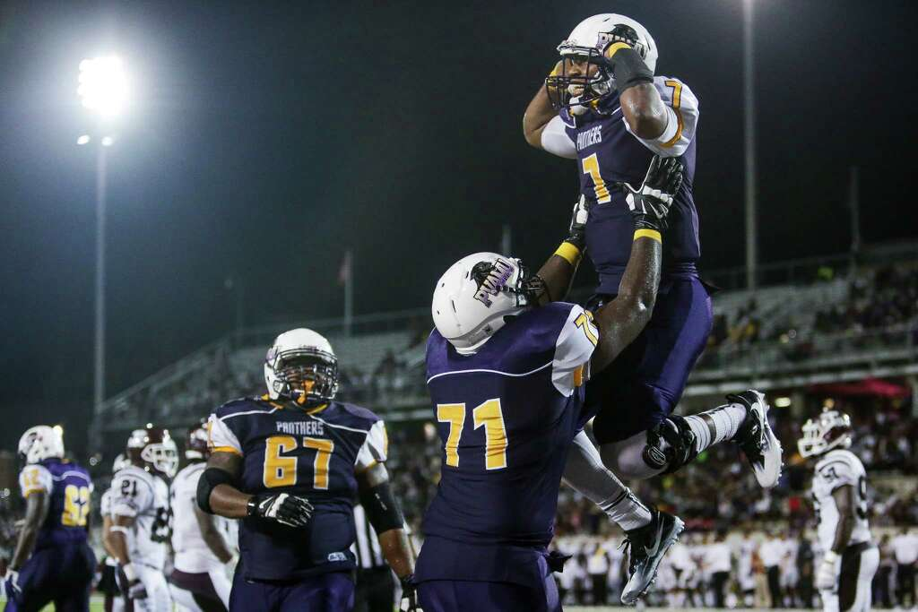 Prairie View A&M cornerback Cederic Porter (1) is lifted in the air after  scoring