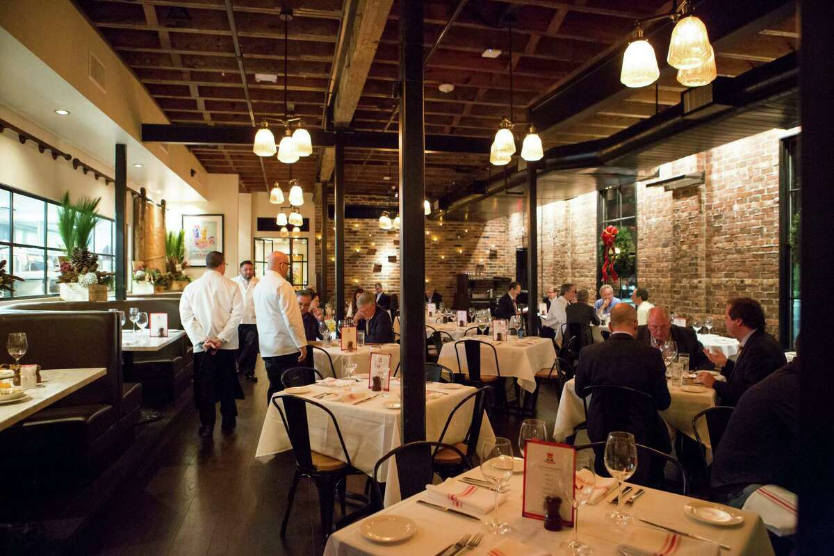 In the main dining room of B & B Butchers & Restaurant, 1814 Washington, Houston.