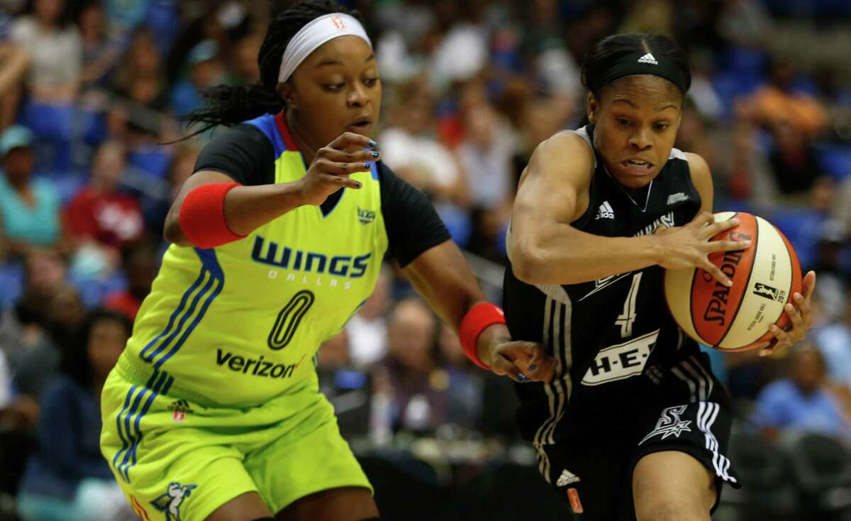 Stars guard Moriah Jefferson drives on Dallas Wings guard Odyssey Sims during the first quarter at the College Park Center in Arlington on June 23, 2016.