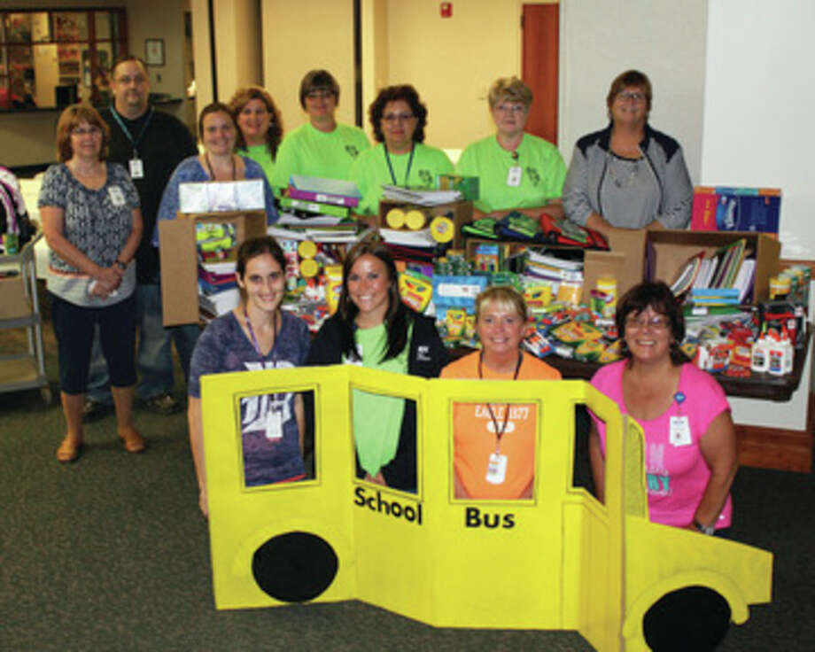 Hospital staff showcases supplies that were collected by Marlette Regional Hospital for Marlette Community Schools.