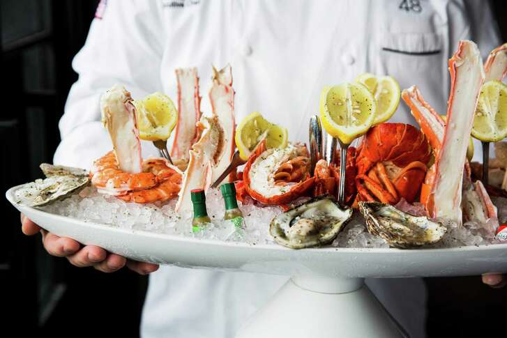 Seafood tower at Steak 48 restaurant at River Oaks District, Houston.
