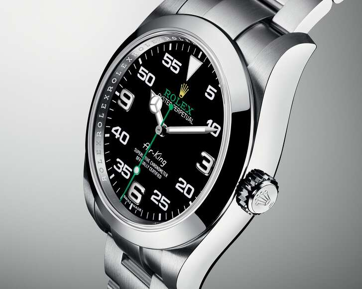 """Rolex Oyster Perpetual Air-King: Emphasizing Rolex's ties to the golden age of aviation, this new Air-King takes flight with a sharp new look: 40 mm diameter, black dial, oversized numerals, and the """"Air King"""" font harkening back to the very first Air-King logo). Other Rolex introductions for 2016 might have made bigger noise, but the Air-King soars; $6,200 at Ben Bridge, Memorial City Mall."""