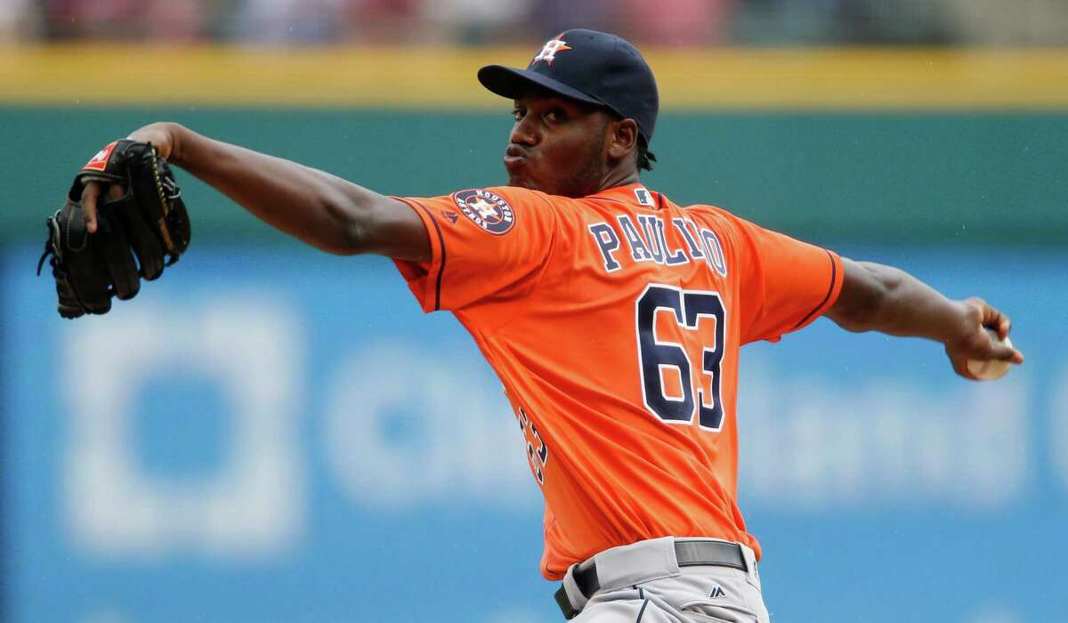 Houston Astros starting pitcher David Paulino delivers against the Cleveland Indians during the first inning of a baseball game Thursday, Sept. 8, 2016, in Cleveland. (AP Photo/Ron Schwane)