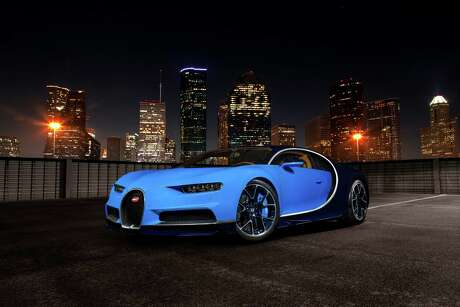 Bugatti Chiron, shot in downtown Houston. Front 3/4 view.