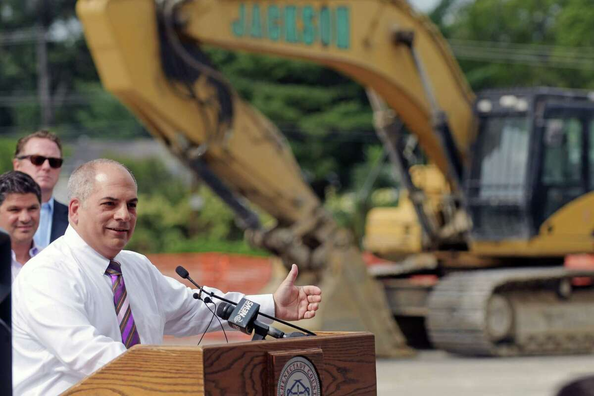 Steve Tommasone, supervisor for the Town of Rotterdam, addresses those gathered at the former Curry Road Plaza for a groundbreaking ceremony on Thursday, Sept. 8, 2016, in Rotterdam, N.Y. Tommasone sent out a statement June 30, 2021 urging residents not to use third-party company doxo to pay town property tax bills. Doxo said the attack is unwarranted. Paul Buckowski / Times Union)