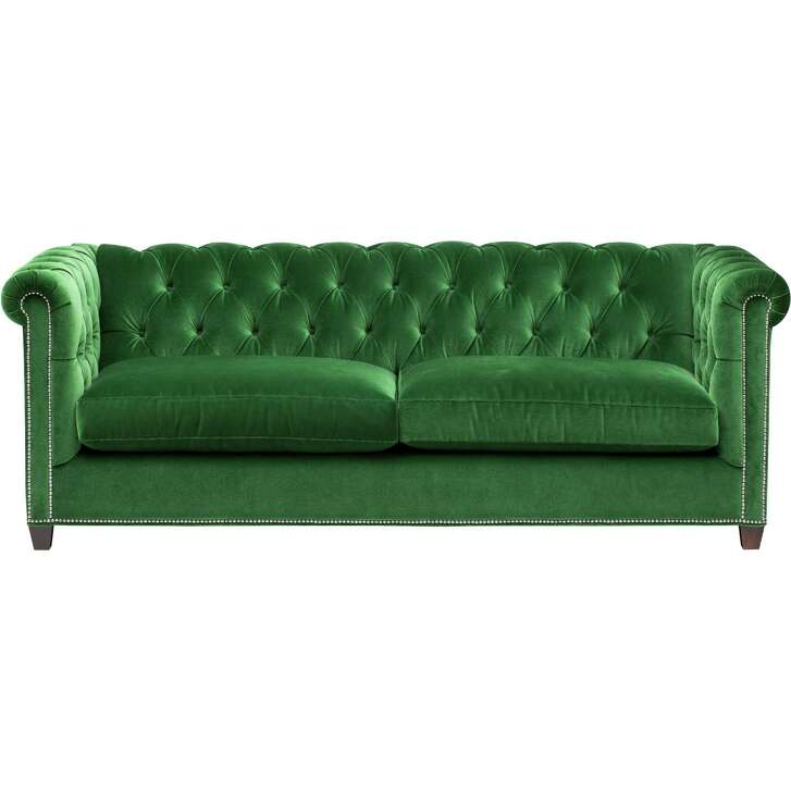 A modern take on the classic Chesterfield-style, the William sofa has a diamond-tufted back and arms and is covered in soft cotton velvet. Available at High Fashion Home; $1,999.