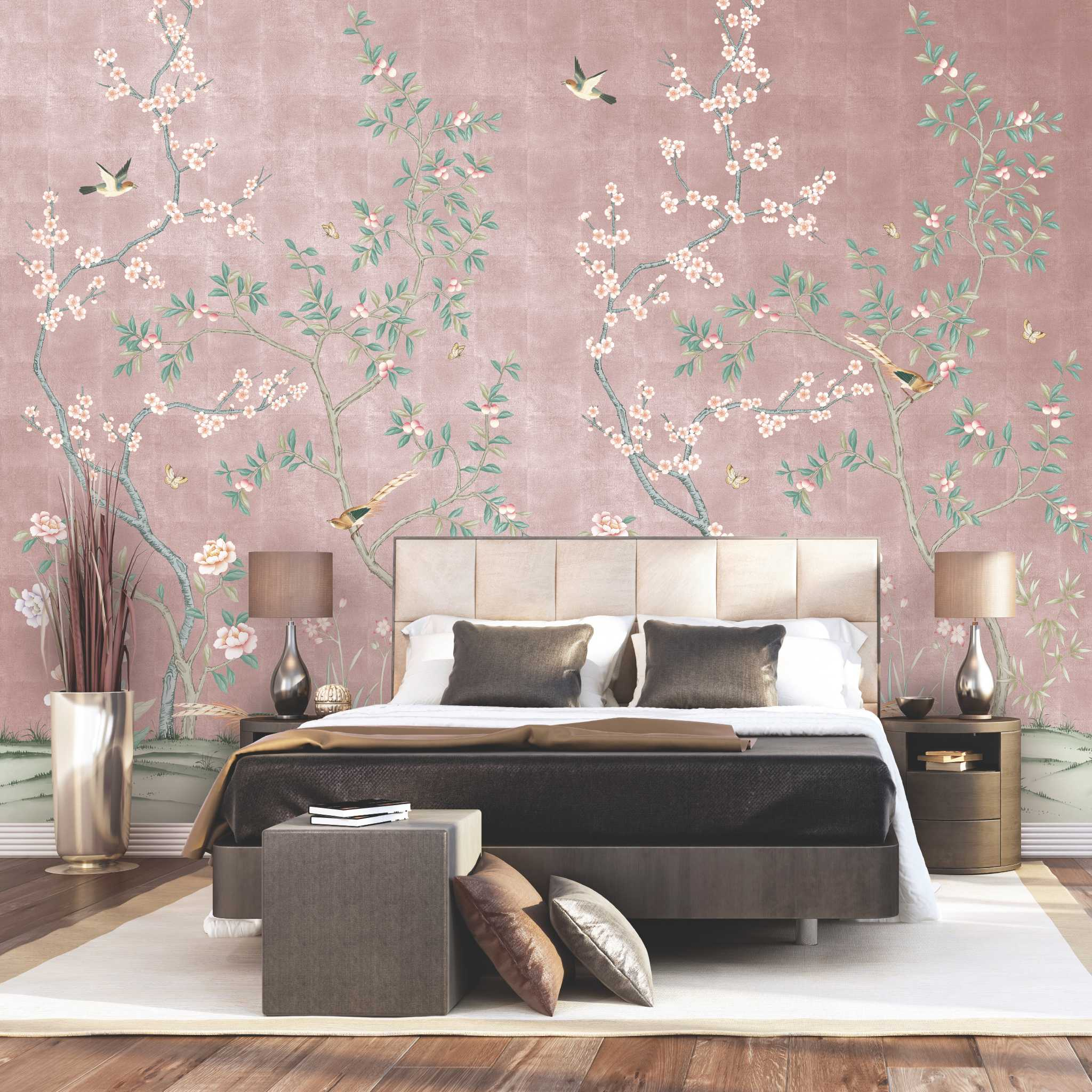 Paper perfect customized for your walls houston chronicle for Pink and grey bedroom wallpaper