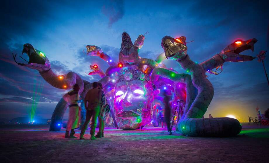 "Participants attend Burning Man 2016, the largest outdoor arts festival  in North America, in the Black Rock desert of Gerlach, Nevada. (""Sidney Erthal works with the Burning Man Project as an archivist, photographer, and translator."") Photo: Sidney Erthal"