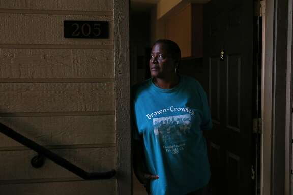 Sharon Brown, 65, poses for a portrait in her apartment in the Creek View apartment complex Sept. 7, 2016 in El Sobrante, Calif. Residents of the complex, including Brown, were served with eviction papers telling them to vacate by the end of the month.