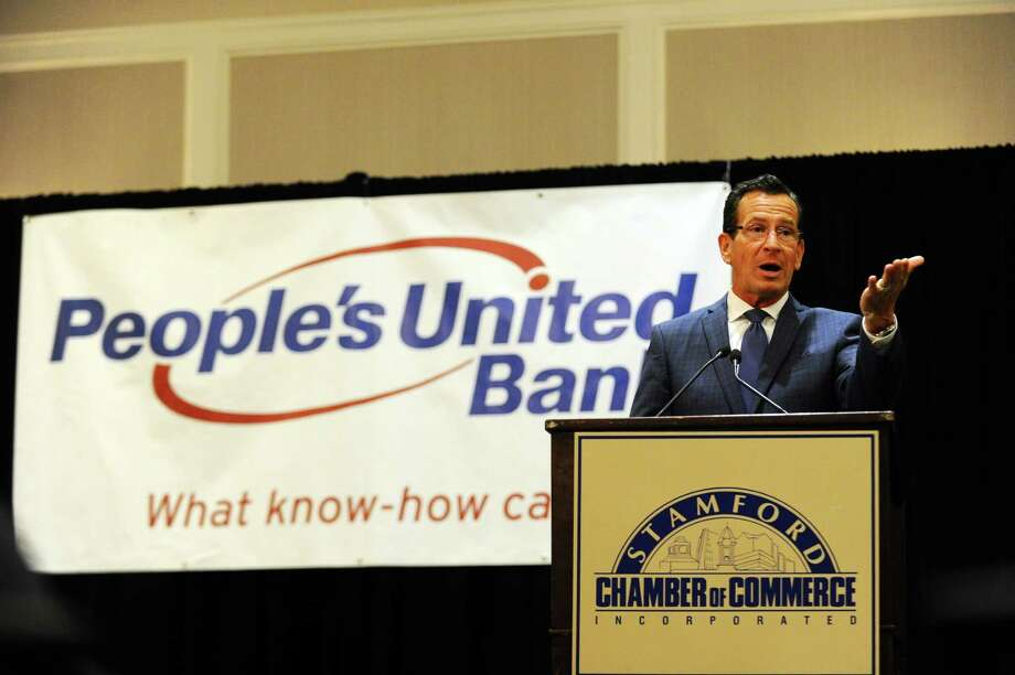 Gov. Dannel Malloy speaks at the Stamford Chamber of Commerce's annual meeting inside the Crowne Plaza hotel in Stamford, Conn. on Thursday, September 8, 2016. Photo: Michael Cummo / Hearst Connecticut Media / Stamford Advocate