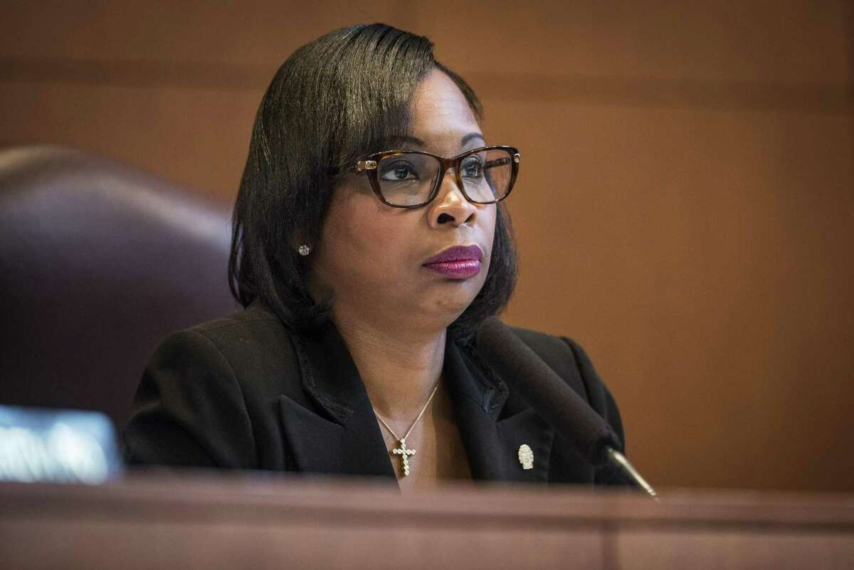 Mayor Ivy Taylor listens to residents air their opinions during a San Antonio City Council meeting where they voted on whether to annex several parts of unincorporated Bexar County, notable a 15-square mile area along Interstate 10 West, on Thursday, September 8, 2016 in San Antonio, Texas.