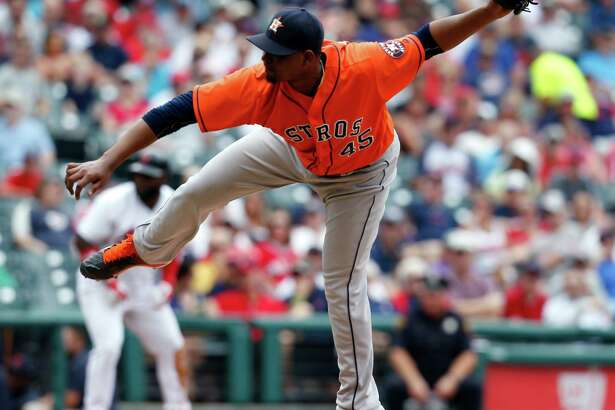 Houston Astros relief pitcher Michael Feliz delivers against the Cleveland Indians during the fifth inning of a baseball game Thursday, Sept. 8, 2016, in Cleveland. (AP Photo/Ron Schwane)