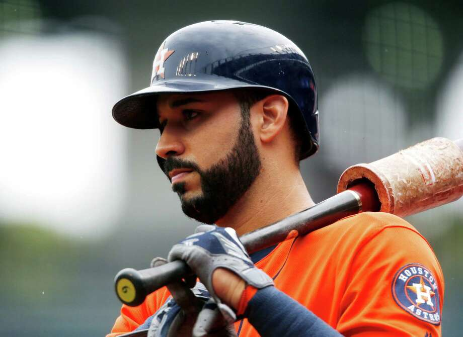 Houston Astros' Marwin Gonzalez waits to bat against the Cleveland Indians during the first inning of a baseball game Thursday, Sept. 8, 2016, in Cleveland. (AP Photo/Ron Schwane) Photo: Ron Schwane, Associated Press / AP 2016