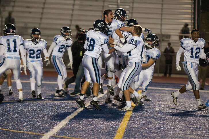 Bellarmine players celebrate their 42-35 defeat of Folsom in last season's Division I-AA regional final - the 270th win for coach Mike Janda, a Central Coast Section record.