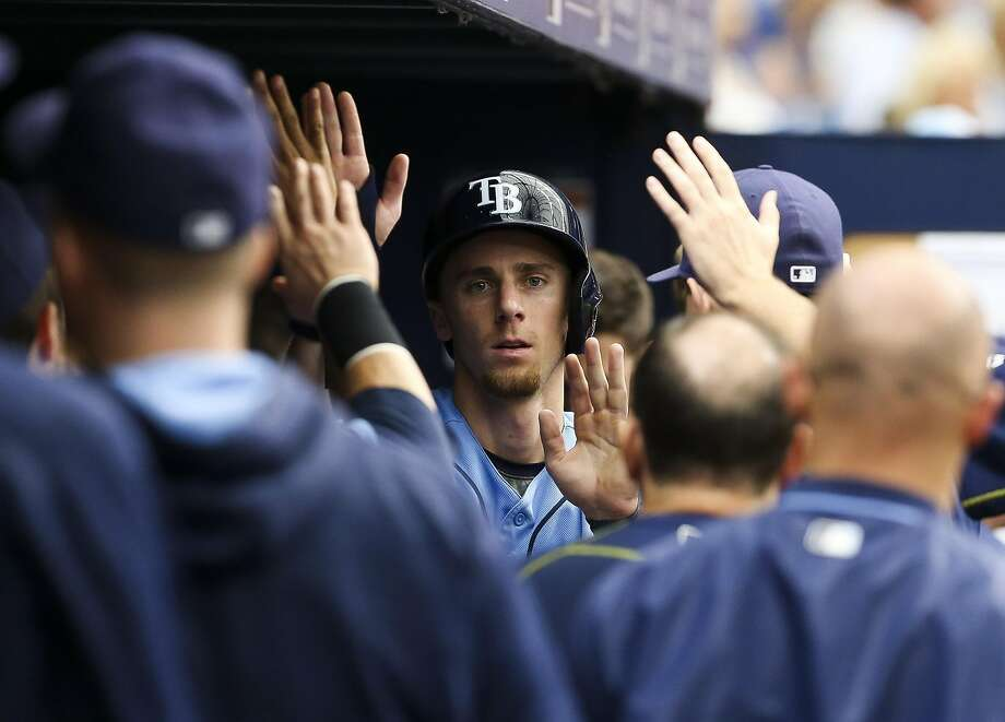 Tampa Bay Rays shortstop Matt Duffy (5) in the dugout after scoring on a single by designated hitter Corey Dickerson (10) in the third against the Toronto Blue Jays on Sunday, Sept. 4, 2016 at Tropicana Field in St. Petersburg, Fla. (Will Vragovic/Tampa Bay Times/TNS) Photo: Will Vragovic, TNS