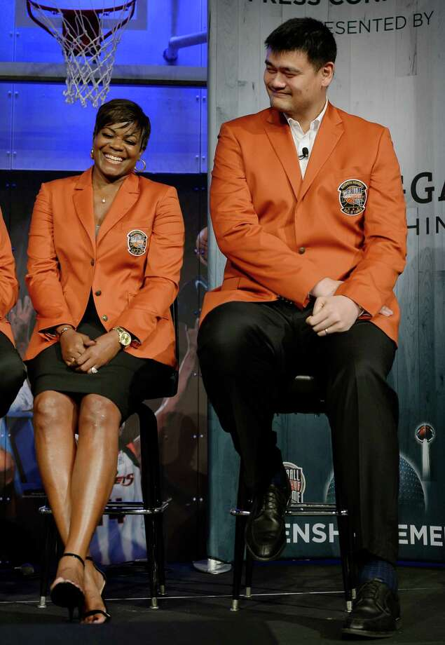 2016 class of inductees into the Basketball Hall of Fame Sheryl Swoopes, left, shares a light moment with Yao Ming, right, of China, during a news conference at the Naismith Memorial Basketball Hall of Fame, Thursday, Sept. 8, 2016, in Springfield, Mass. (AP Photo/Jessica Hill) Photo: Jessica Hill, Associated Press / AP2016