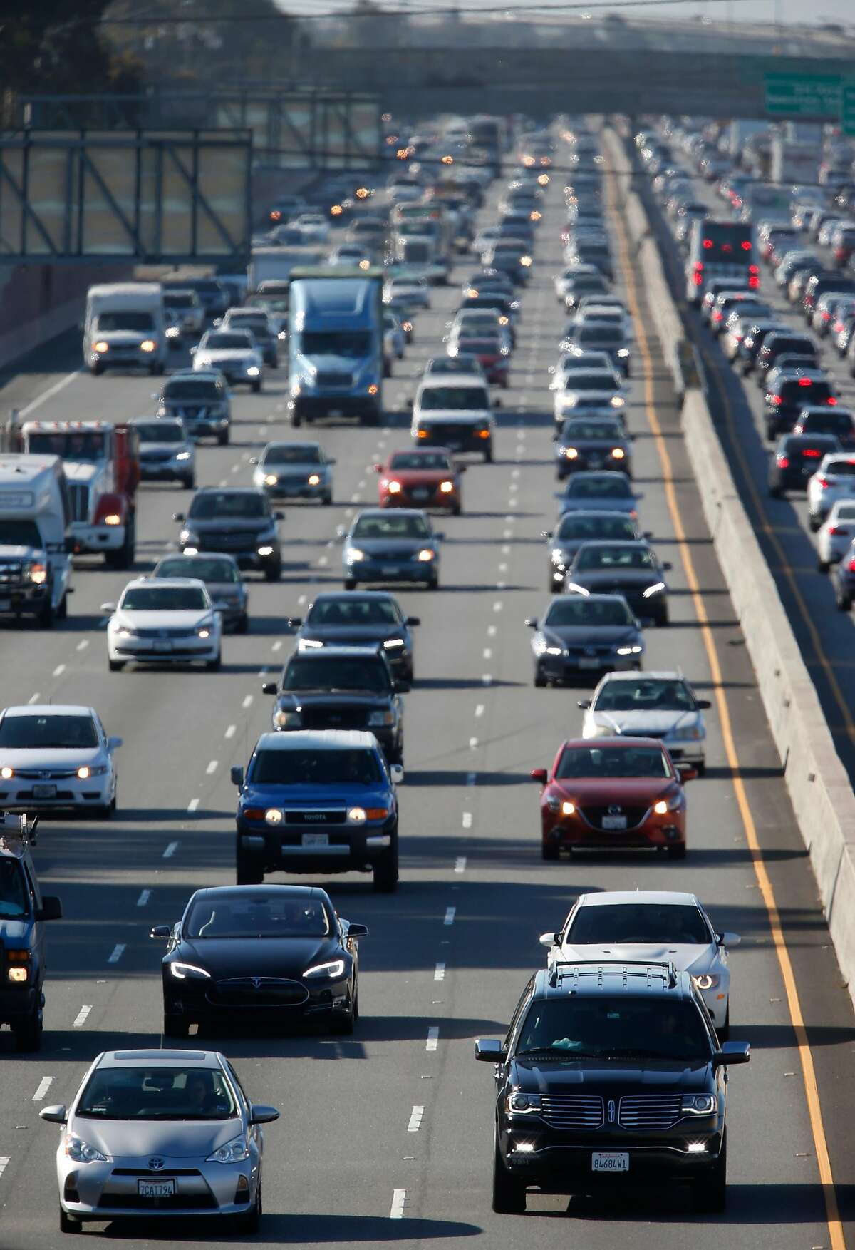 Northbound traffic on Highway 101 near Peninsula Avenue in San Mateo, Calif. Commute times keep increasing in Silicon Valley, limiting regional economic growth and innovation.