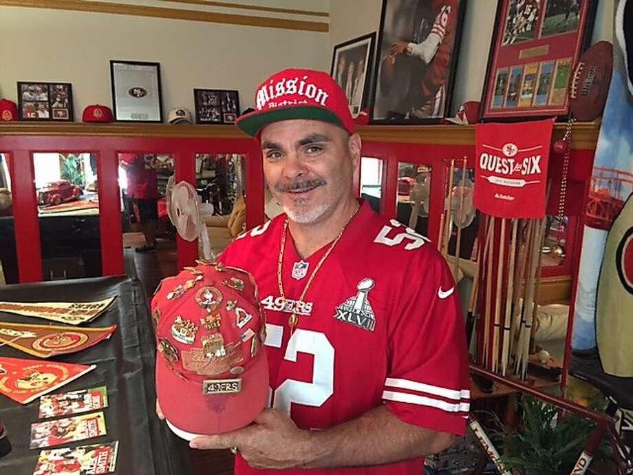 Super fan John Marksman in his 49ers room Photo: Sam Whiting