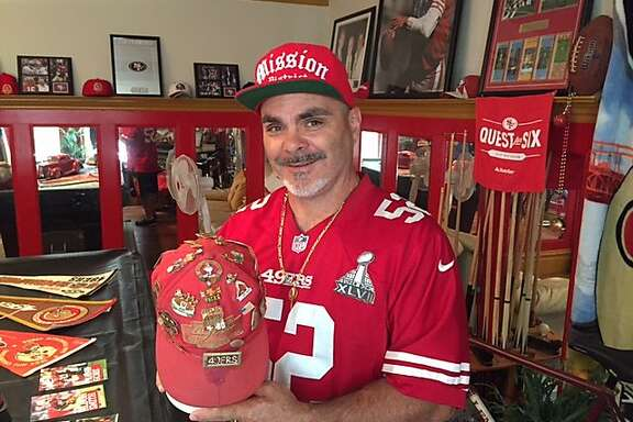 Super fan John Marksman in his 49ers room