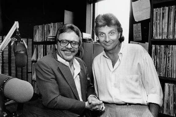 Jim Pruett, left, and Mark Stevens of KLOL, July 1986.