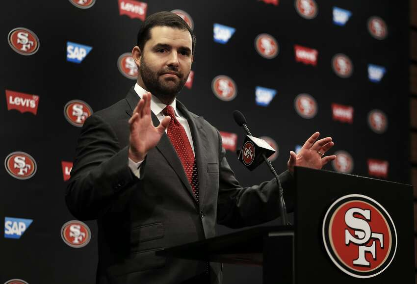 San Francisco 49ers Chief Executive Officer Jed York gestures while speaking to reporters during a media conference Monday, Jan. 4, 2016, in Santa Clara, Calif. York answered questions regarding the announcement that Jim Tomsula has been relieved of his head coaching duties. (AP Photo/Ben Margot)