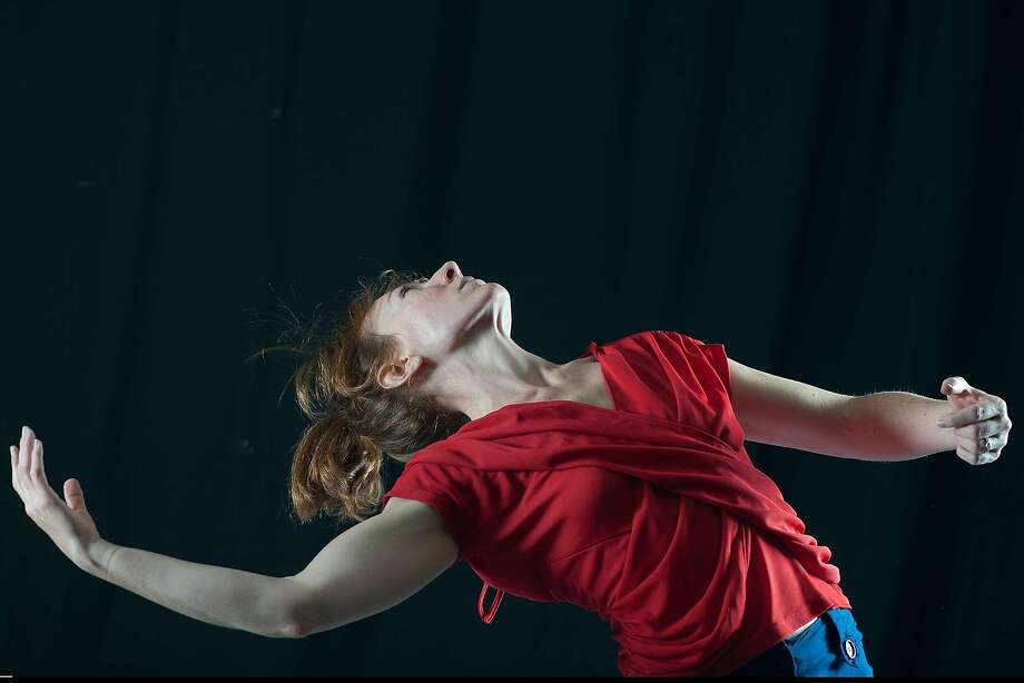 """Deborah Karp performs in her """"Fine Twin,"""" a work for three dancers, at the West Wave Dance Festival at Z Space. Photo: Lynne Fried"""
