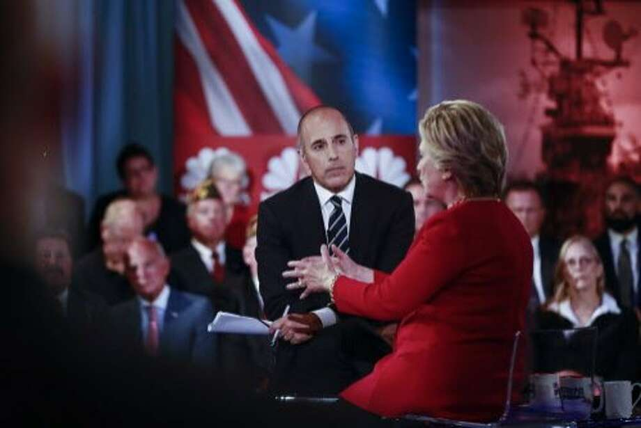 TV personality Matt Lauer drew wide criticism for his style in questioning Hillary Clinton and her opponent, Donald Trump. Photo: DOUG MILLS, NYT