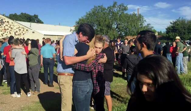Sept 8, 2016: A 14-year-old girl died of a self-inflicted gunshot wound after shooting and wounding another female student at Alpine High School in West Texas. Photo: TEL / KWES-TV