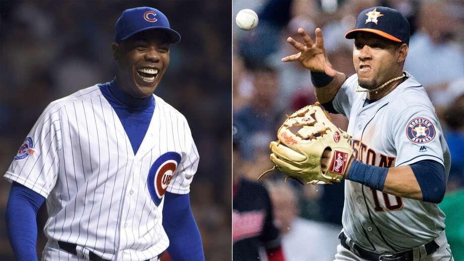Astros infielder Yulieski Gurriel and Cubs closer Aroldis Chapman, both Cuban defectors.