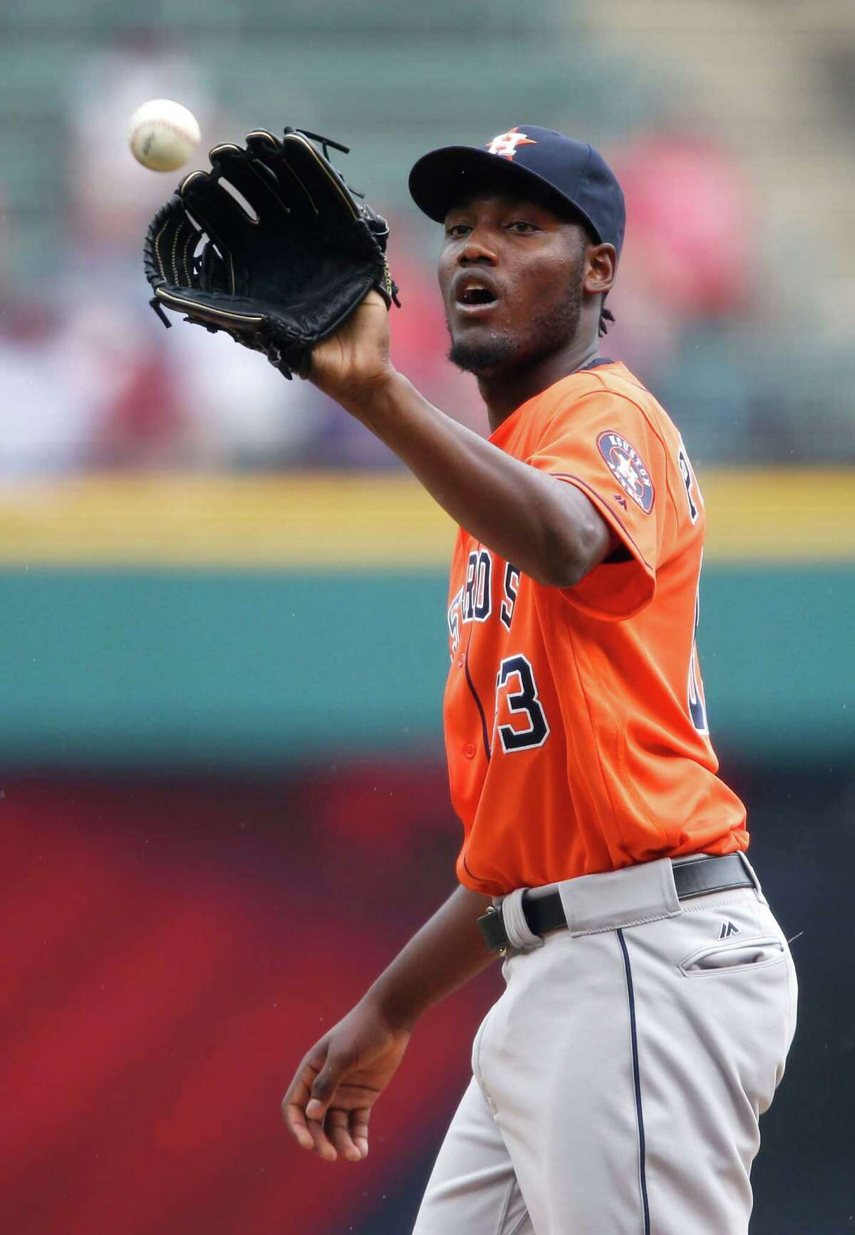Houston Astros starting pitcher David Paulino against the Cleveland Indians during the first inning of a baseball game Thursday, Sept. 8, 2016, in Cleveland. (AP Photo/Ron Schwane)